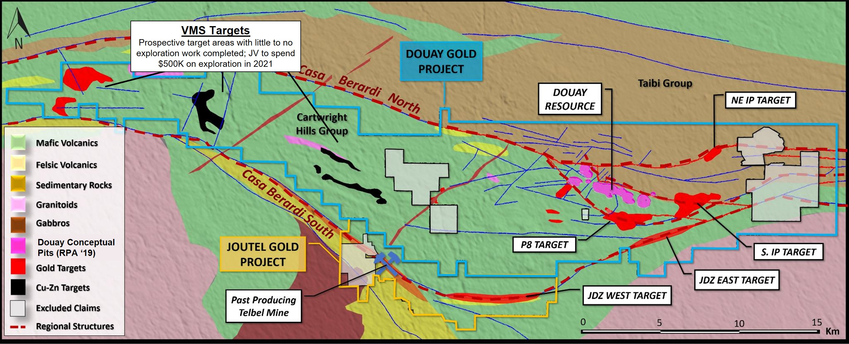 Maple Gold Mines Updated property geology map