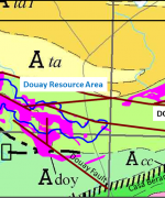 Magnitude of NE Syenite Target vs Douay Resource Area. Note position of initial hole DO-18-220. Geological base map shows location of both syenitic intrusive complexes within Casa Berardi Tectonic Zone PR-03-14-2018