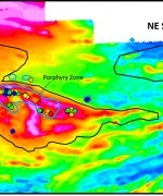 Douay Resource Area on first vertical derivative magnetic susceptibility base map, highlighting clusters of  drill-holes with high gold accumulation (grade x downhole width).