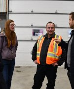 Matthew Hornor chats with Geologists Even Stavre, Victoria Tweedie and Luiz Amaral while on a recent visit to the Douay project site.